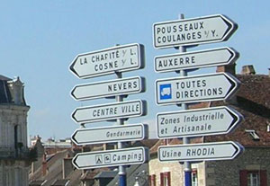 Directional signs in Clamecy. © 2006-2011 Cold Spring Press.  All rights reserved.