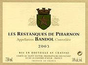 Les Restanques de Pibarnon 2003 label