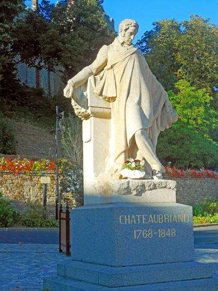 Châteaubriand Statue in Combourg.  Copyright Cold Spring Press.  All rights reserved.