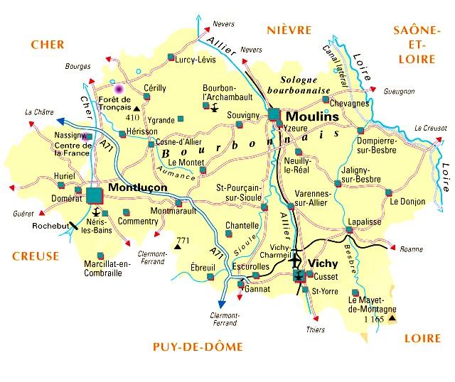 Карта региона Овернь и Виши