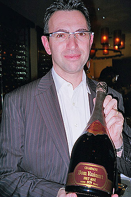 Frederic Panayotis with magnum of Dom Ruinart Brut Rosé 1979. Copyright Panos Kakaviatos 2008.  All Rights Reserved.