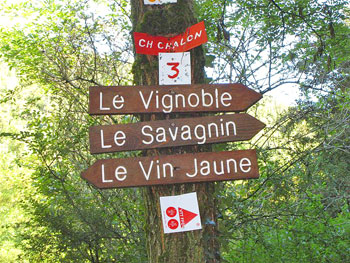 Signs for walkers in the Jura